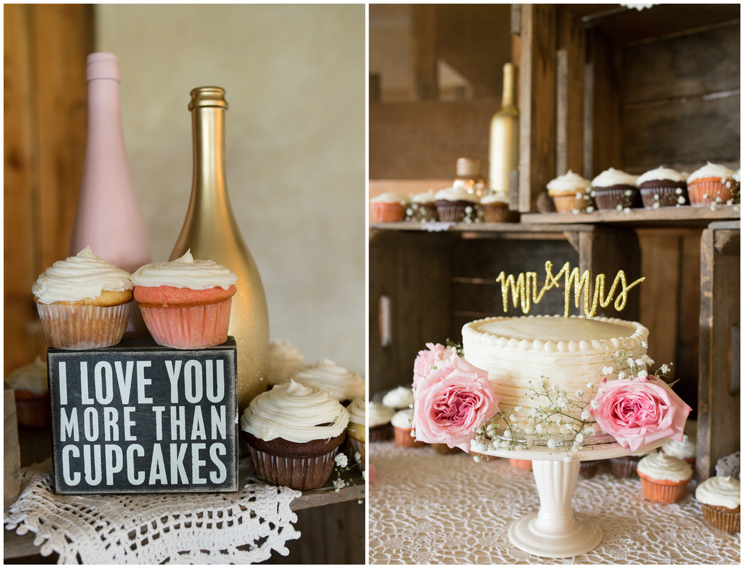 rustic cake table, wooden crate cake table, wedding cupcakes, laser cute cake topper, cupcake display wedding, pink and gold wedding, doe creek farm wedding, blacksburg va wedding photographer, cake table decor