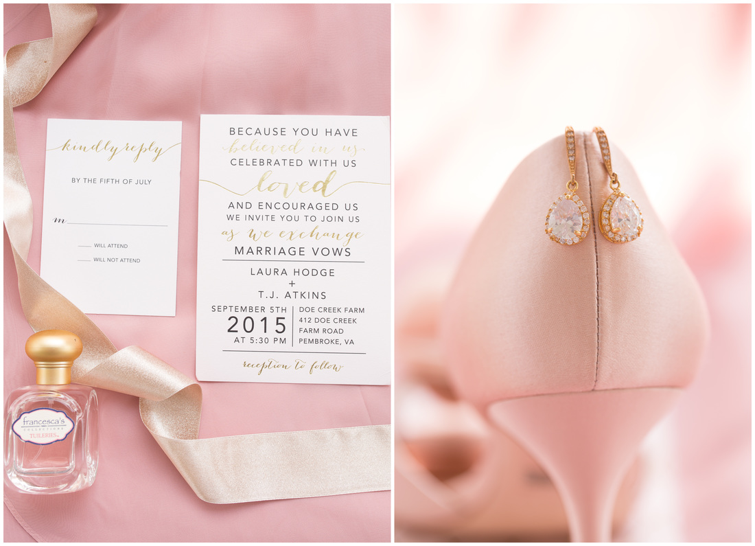 bridal styling, pink wedding, blush wedding, pink and gold wedding, doe creek farm