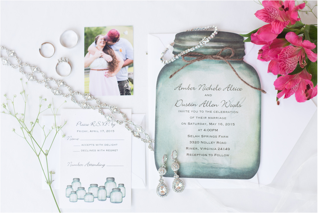 Selah Springs Riner Va, Detail styling, invitation suite styling, Mason jar invitation, Radford VA wedding photographer, Blackburg wedding photographer, pink wedding inspiration, country wedding inspiration