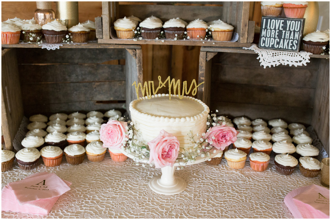 rustic cake table, wooden crate cake table, wedding cupcakes, laser cute cake topper, cupcake display wedding, pink and gold wedding, doe creek farm wedding, blacksburg va wedding photographer