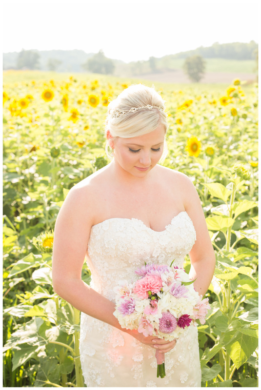 sunflower field photos, sunflower field bridal portraits, sunflower bride, bridal portraits, radford va wedding photographer, radford wedding photographer, blacksburg wedding photographer, roanoke wedding photographer, virginia wedding photographer, bridal photos, doe creek farm wedding,