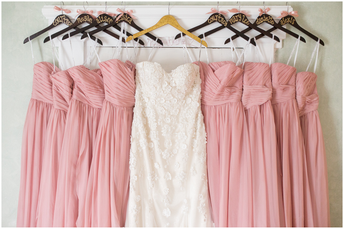 Amrheins Bridal shop, amrheins bridal roanoke va, bridal styling, pink wedding, blush wedding, pink and gold wedding, doe creek farm, blush bridesmaids dresses, gold and blush dress hanger wedding, wedding dress hanging